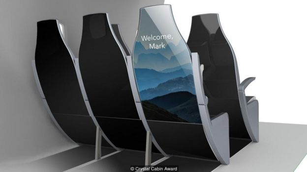 Ilustración asientos de un avión.