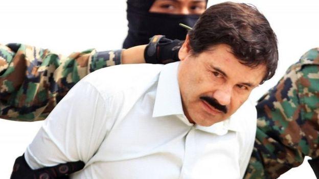 """Joaquín """"El Chapo"""" Guzmán preso no México em 2014."""