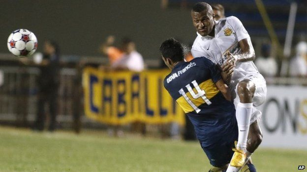 Fort Lauderdale Strikers (white) in friendly action v Boca Juniors this summer