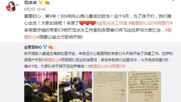 Un post de Fan Bingbing en Weibo
