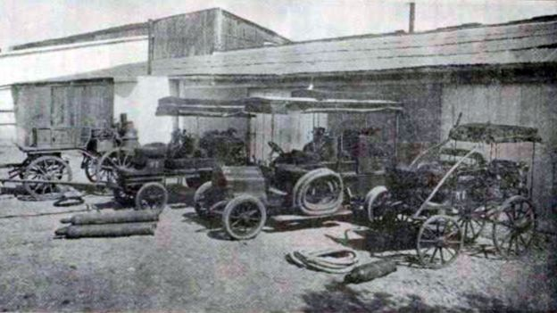 Aparatos Marot en el Parque Central de Desinfección y Saneamiento, en Buenos Aires, en 1911.