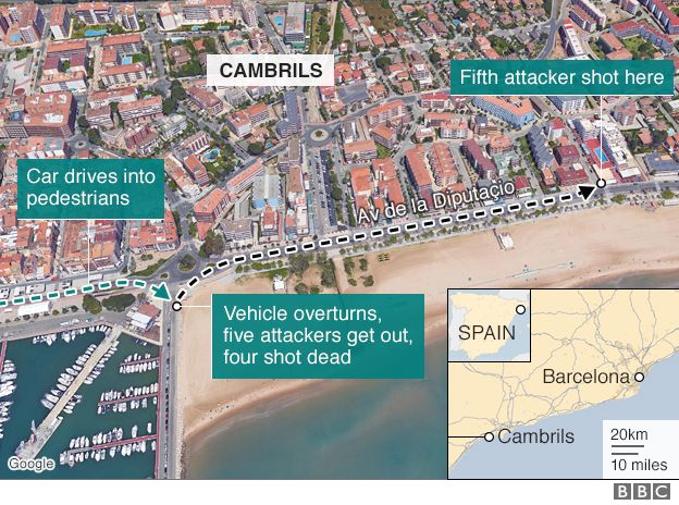 Map showing location of the Cambrils attack