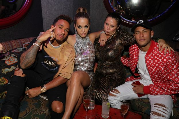 Lewis Hamilton, Rita Ora, Guest and Neymar attends the Miu Miu LOVE party at Loulou's on September 18, 2017 in London, England.