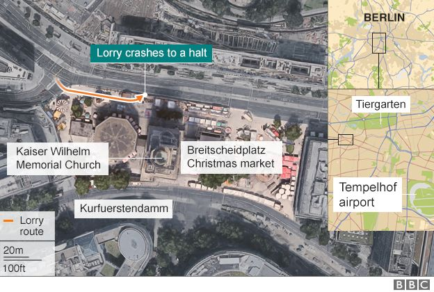 Berlin lorry attack map