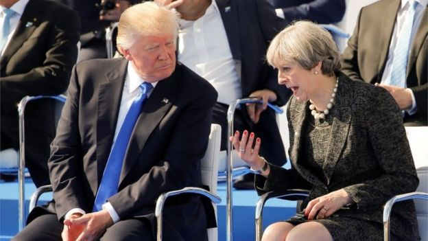 Theresa May and Donald Trump in Brussels