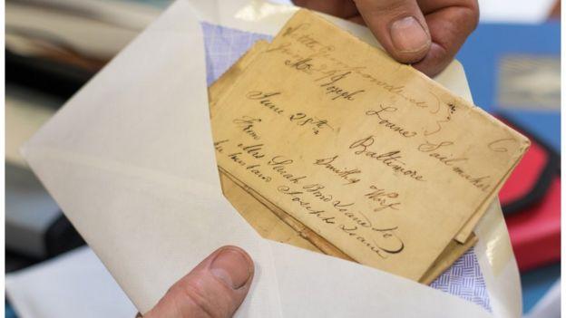 Uma carta antiga endereçada ao fundador da empresa, Joseph Loane