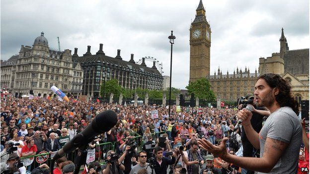 Russell Brand speaking at an anti-austerity protest in London