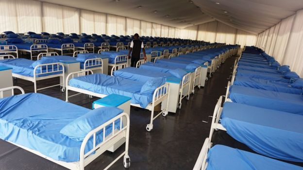 A COVID-19 coronavirus isolation centre at the Sani Abacha stadium in Kano, Nigeria, on April 7, 2020.