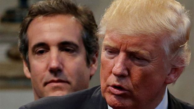 Cohen campaigning with Mr Trump in 2016