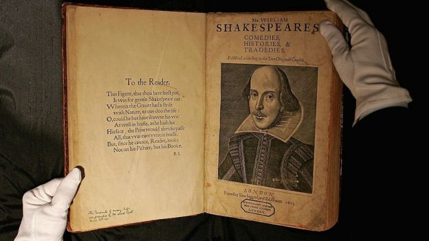 Copy of the first folio of William Shakespeare.