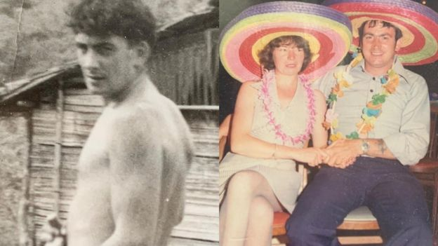A photo of Sam as a young man and a photo of him with Miriam
