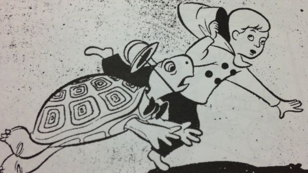 Children's illustration of a boy and a running turtle.  (Image: courtesy of the Truman Library)