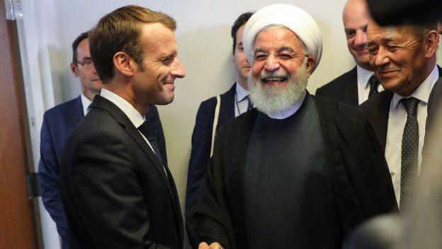 Fransa Cumhurbaşkanı Macron ve İran Cumhurbaşkanı Ruhani