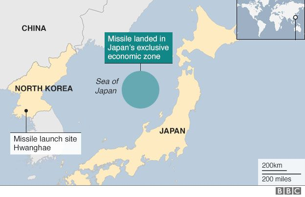 Map of North Korea and Japan