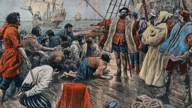 Pintura mostra marinheiros desesperados em navio