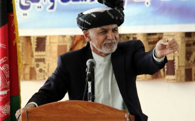 Afghan President Ashraf Ghani speaks to students at a ceremony at the University of Kandahar, in Afghanistan, on 7 October 2017.