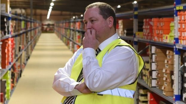 Mike Ashley in Sports Direct warehouse