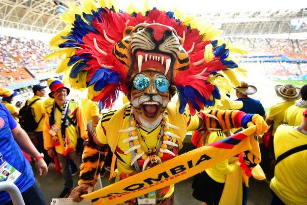 Los aficionados colombianos son mayoría en Saransk.