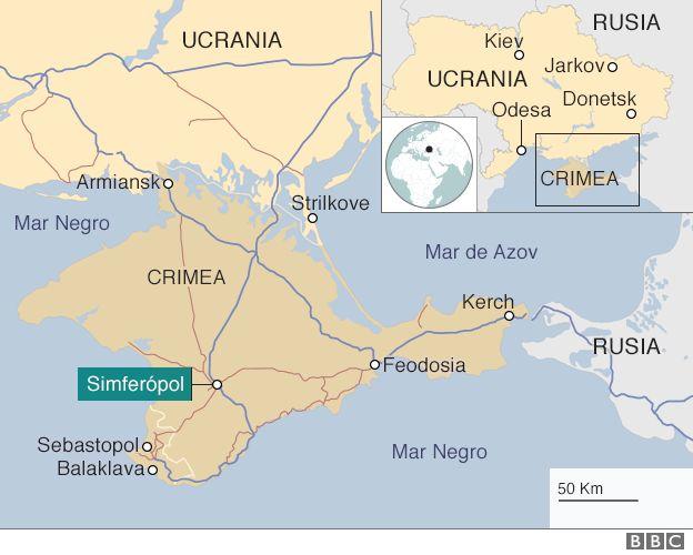 Mapa de Ucrania y Crimea