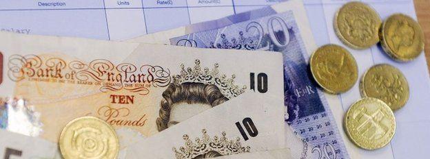 Money and pay slip