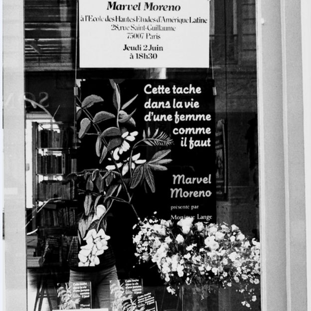 Publicidad de lanzamiento de libro de Marvel Moreno en Paris