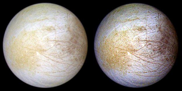 Dos caras de la luna Europa de Júpiter