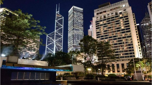 Bank of China Tower and other high rise buildings in Hong Kong