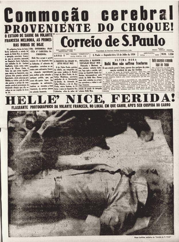Helle Nice en la portada del periódico Correio de Sao Paulo.