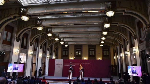 Conferencia de prensa de AMLO y el presidente del gobierno español, Pedro Sánchez.