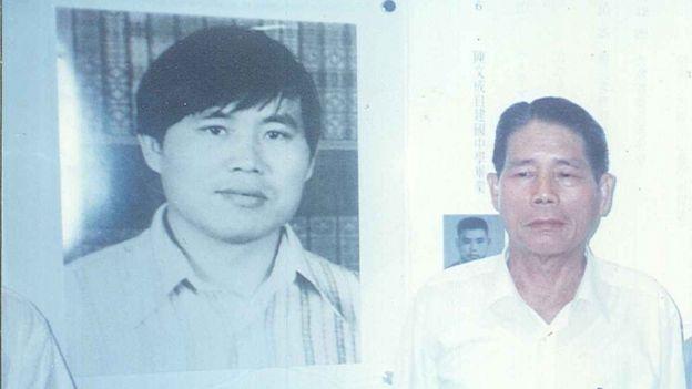 陳文成照片(圖左),圖右為陳文成岳父陳錦華。