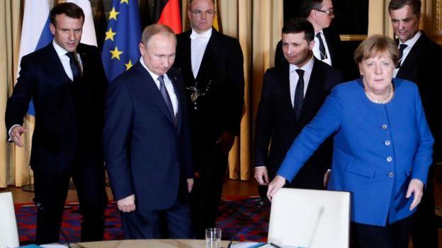 Макрон, Путін, Зеленський, Меркель