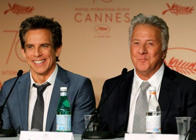 Ben Stiller and Dustin Hoffman smile at a Cannes press conference for the film