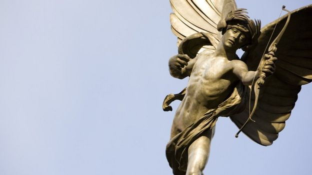 Statue of Eros at Londons's Piccadilly Circus.