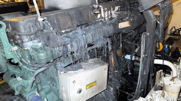 The engine after the fire