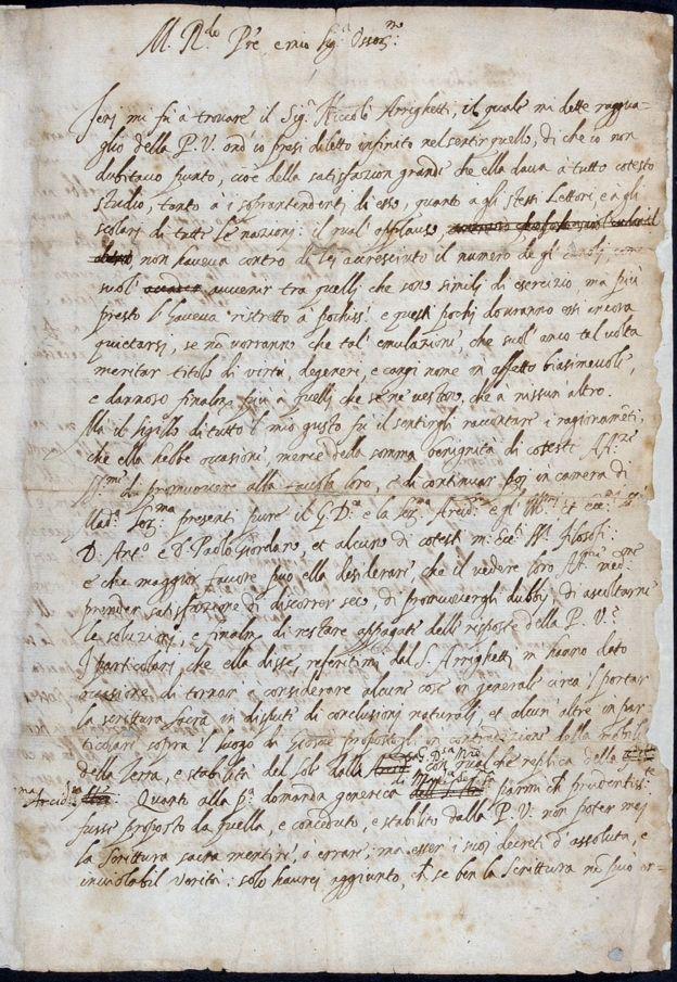 Carta manuscrita de Galileu Galilei (1564-1642) a Benedetto Castelli, datada de 1613