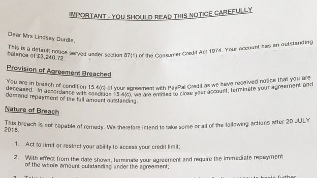 PayPal told customer her death breached its rules - BBC News