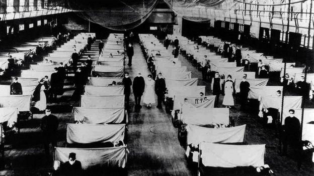 Instalaciones de cuarentena durante la influenza de 1918.