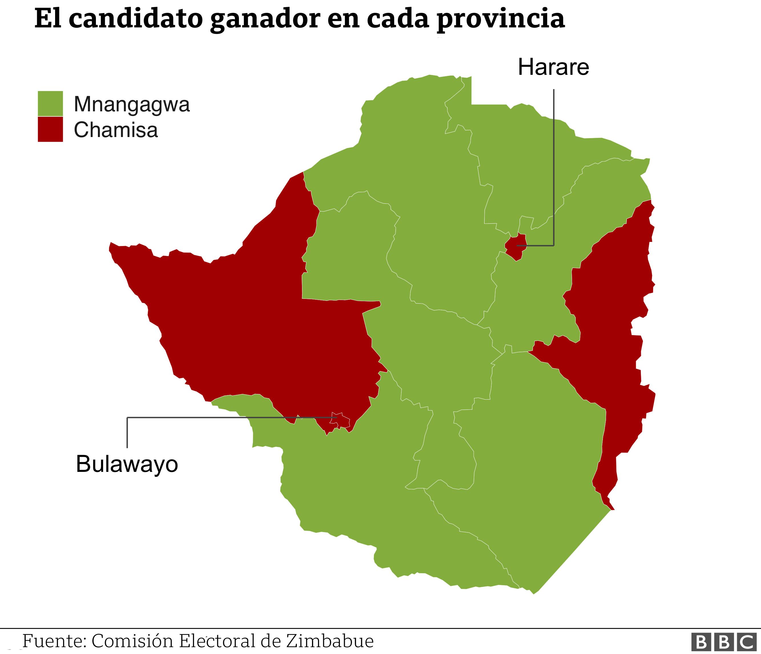 Mapa electoral en Zimbabue