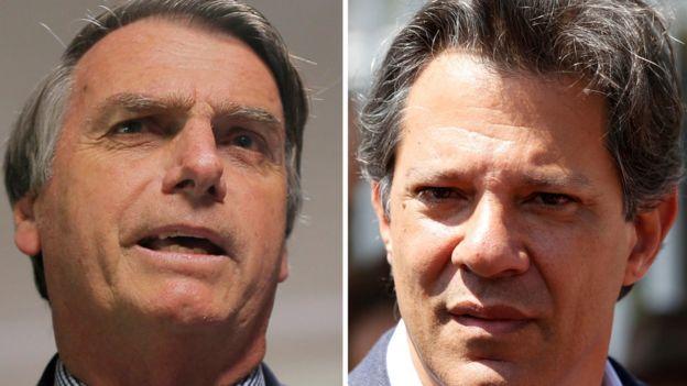 Jair Bolsonaro (à esquerda), Fernando Haddad (à direita)