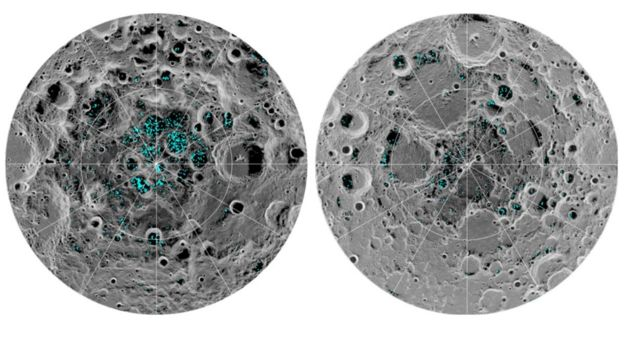 foto da Nasa mostra lua com pontos verdes, onde estaria o gelo