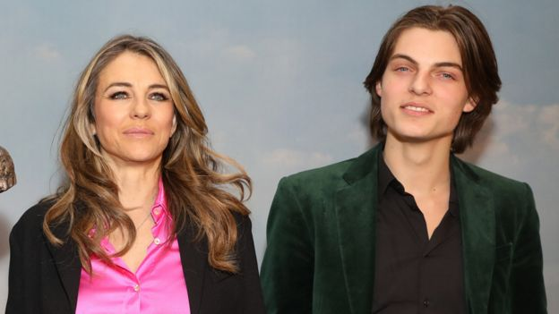 Elizabeth Hurley and son Damian in 2018