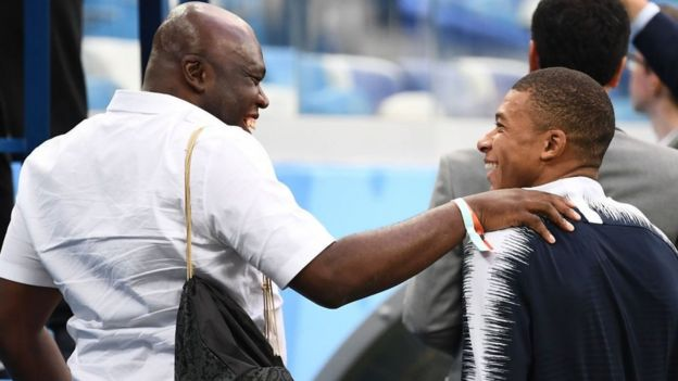 Mbappe and his father arrive at the stadium ahead of France v Uruguay