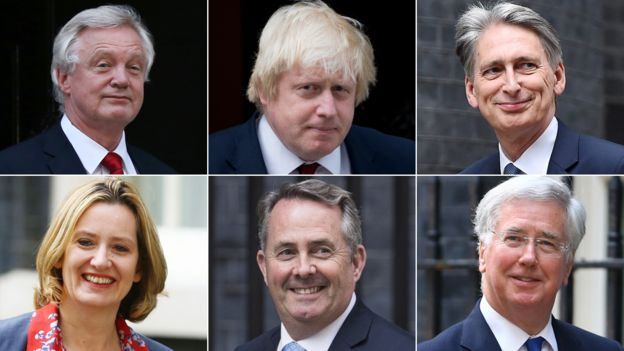 David Davis, Boris Johnson, Philip Hammond, Michael Fallon, Liam Fox, Amber Rudd (Clockwise from top left)