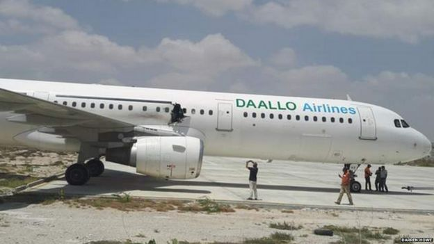 A plane in Somalia with a hole in its fuselage