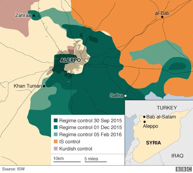 A map showing how Syrian government forces have gradually surrounded Aleppo