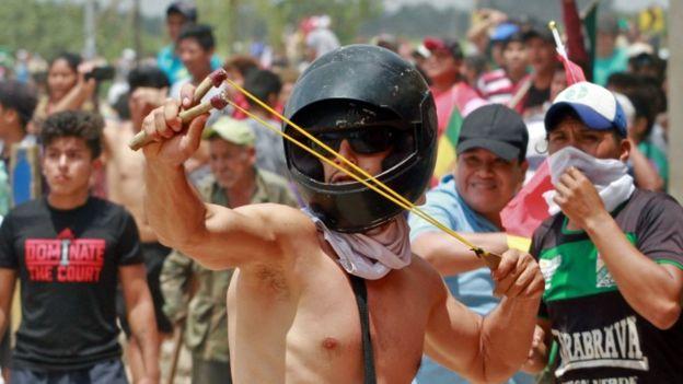 Manifestantes en Bolivia.