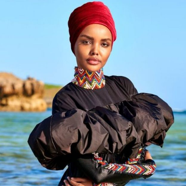 Halima Aden in a burkini