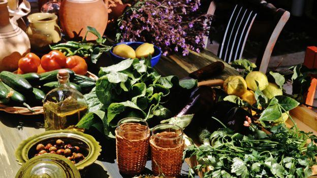 Овощи, фрукты, оливковое масло