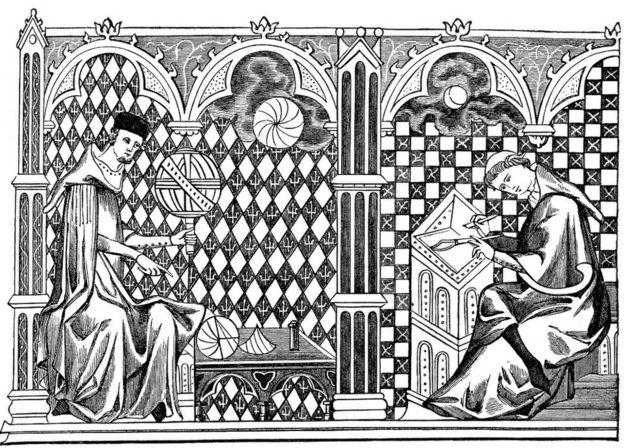 Ilustración del siglo XIII, de monjes matemáticos.