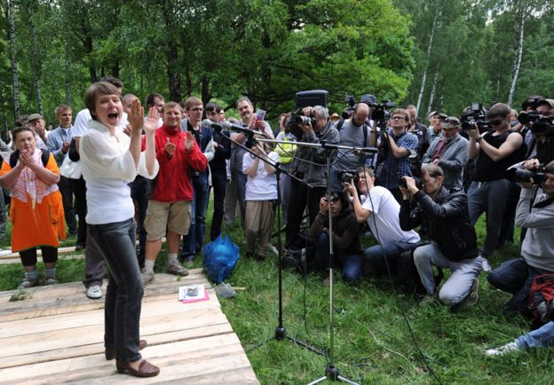 Haciendo campaña en el bosque de Khimki